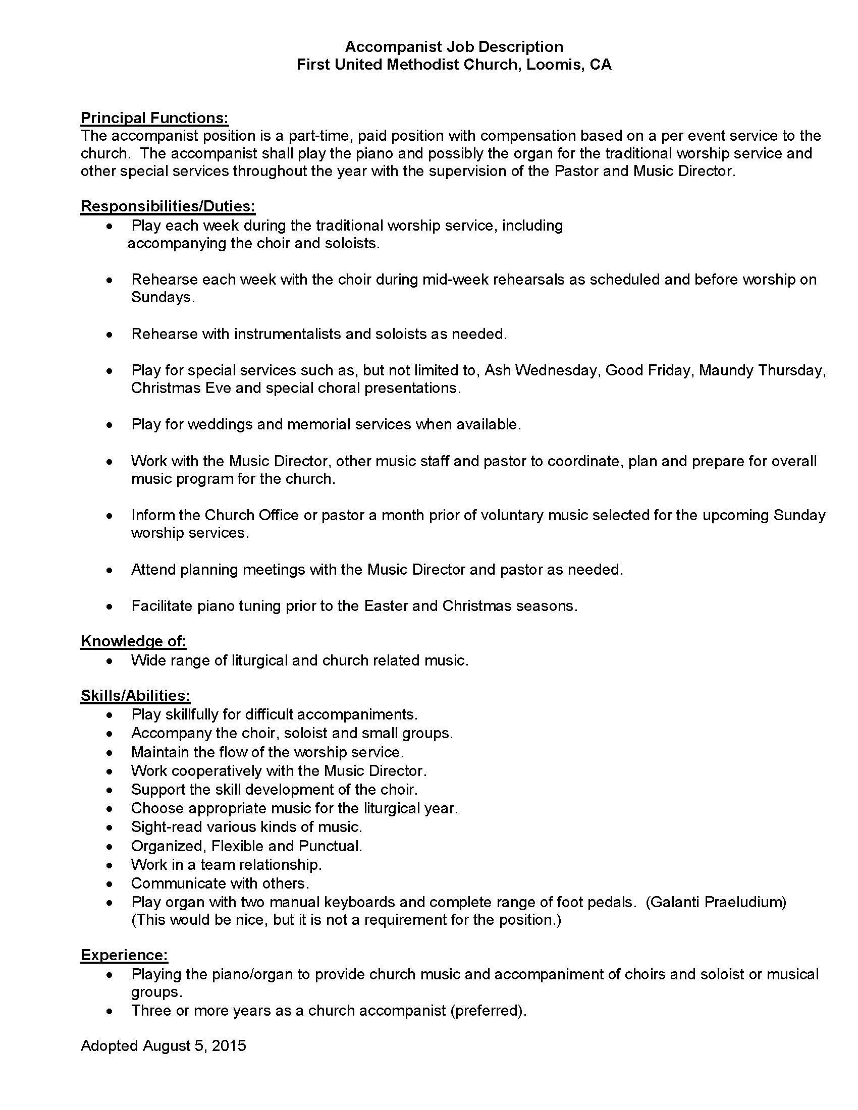 Accompanist Job Description August 2015 (1)
