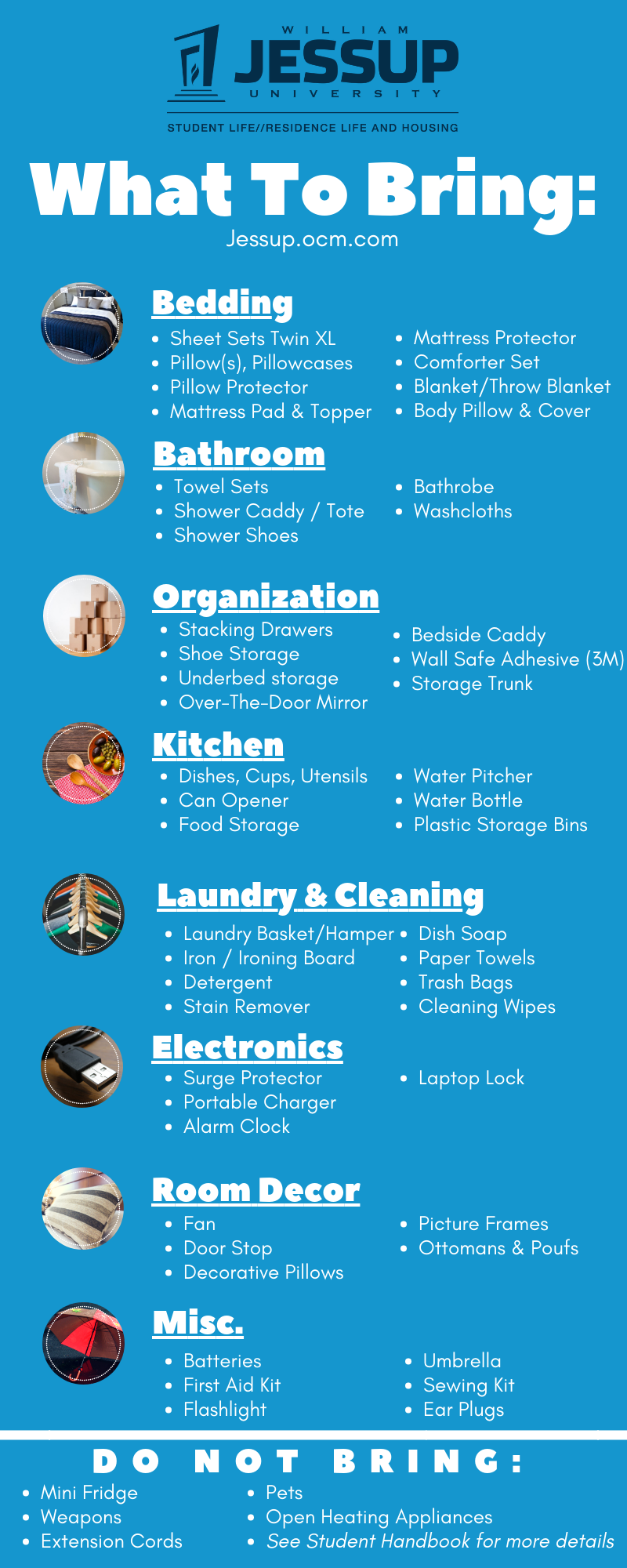 What to Bring List | Residence Life and Housing