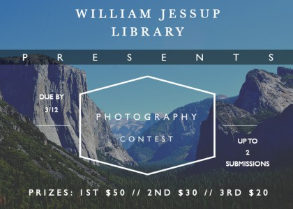 Student Photo Contest in the Library – Now accepting submissions! 1st, 2nd, & 3rd places win $50/$30/$20