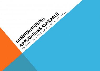 Summer Housing Info
