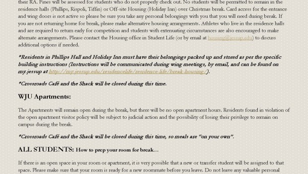Winter Break Housing Info