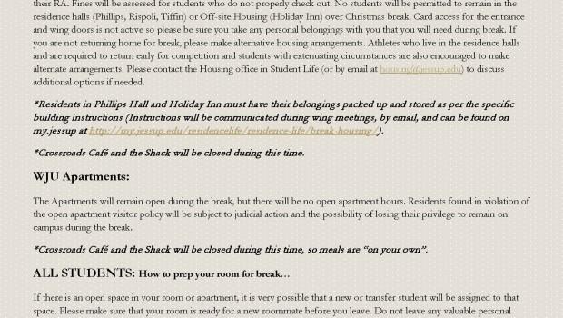 Winter Break Housing Info