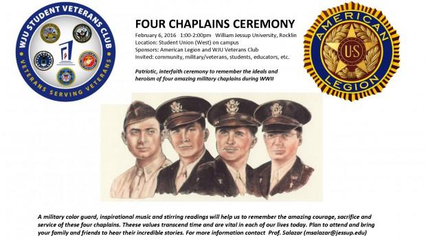 Four Chaplains Ceremony – Feb 6 1:00 pm
