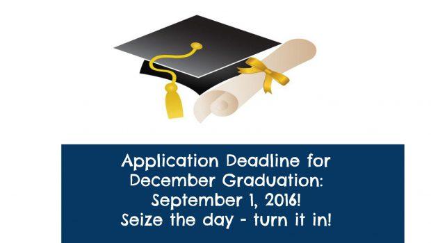 Apply for December Graduation — September 1, 2016