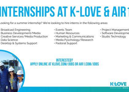 KLOVE Summer Internships – apply by Feb. 28
