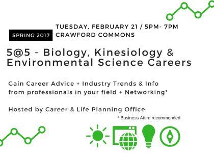 5@5 Biology, Kinesiology & Environmental Science Careers – Tuesday, Feb. 21 @5pm