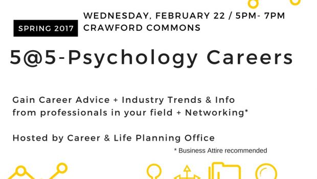 5@5 Psychology Careers – Wednesday, Feb. 22 @5pm