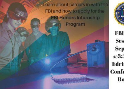 FBI Info Session on Careers and Honors Internship Program – 9/25 @3:30pm