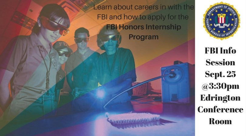 FBI Info Session on Careers and Honors Internship Program – 9/25 @3:30pm