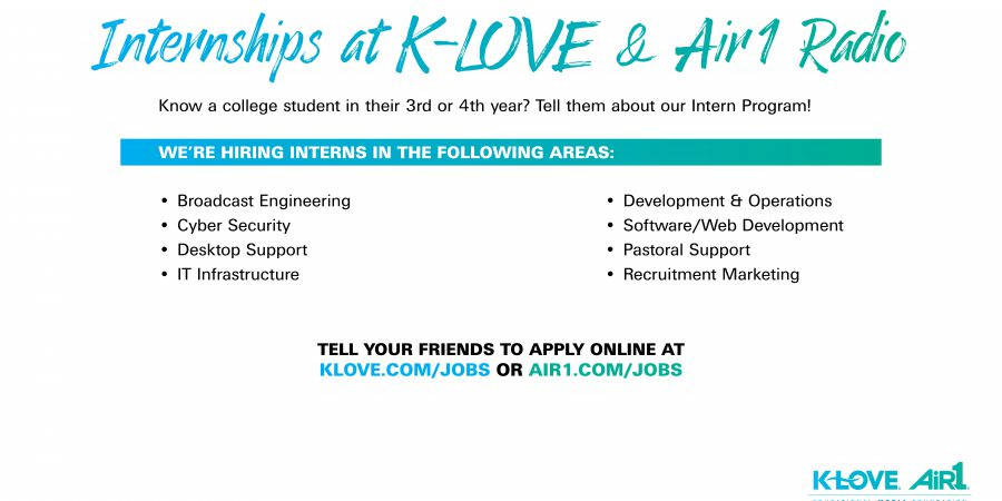 KLOVE/Air-1 Radio Internships – Apply by March 29