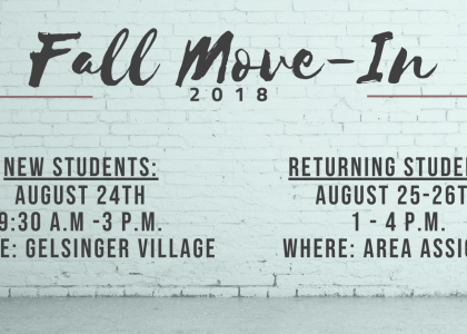 Fall 2018 Move-In Dates