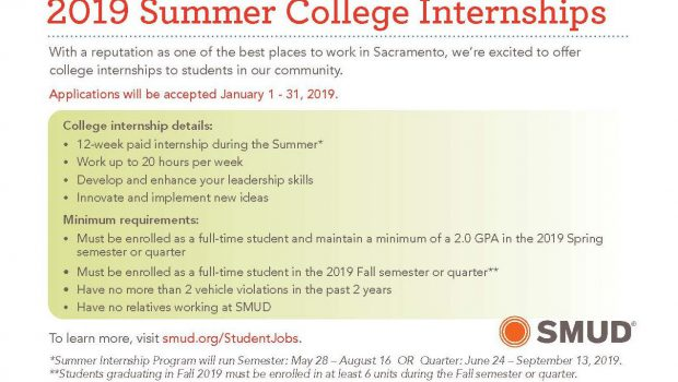 SMUD Summer Internships – Apply Jan. 1-31