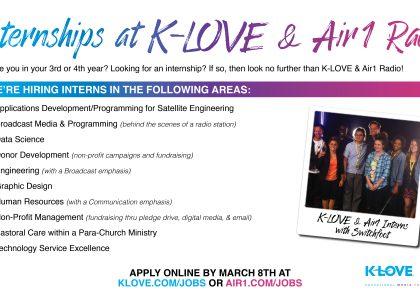 KLOVE & Air-1 Now Recruiting for PAID Summer Internships