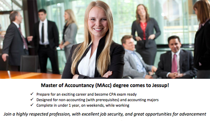Master of Accountancy Degree Comes to Jessup!