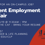 Looking for a JOB on campus? Join us for a JOB FAIR 8/28
