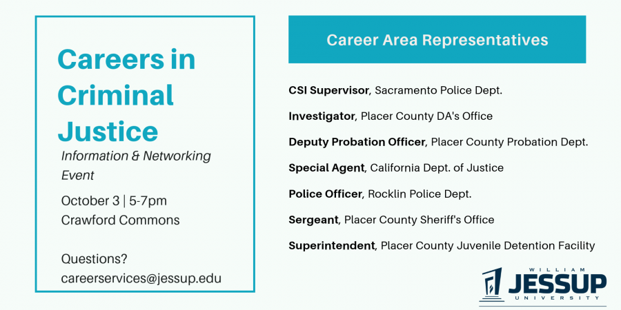 Careers in Criminal Justice – Information & Networking Event 10/3 @5pm