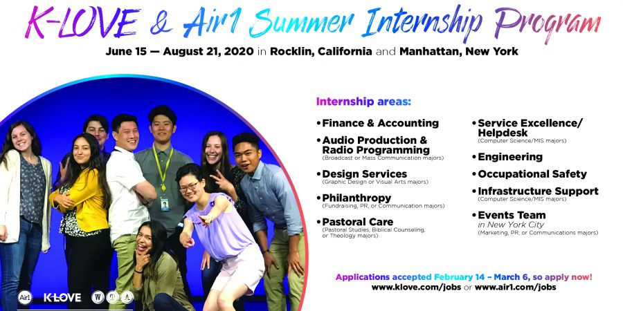 KLOVE/Air-1 Summer Internships: Apply by March 6!