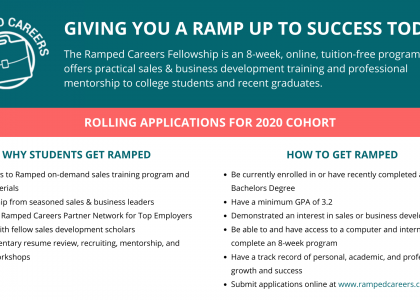 Considering a career in sales or business development? Apply today for free training through Ramped Careers!