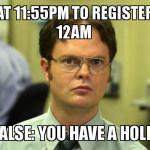 Business Hold for Registration?