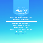 Housing accommodation request deadline March 1st