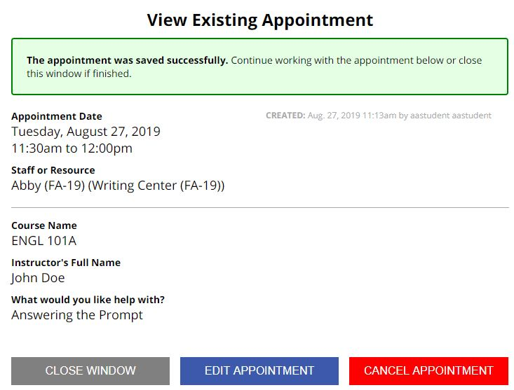 Sample appointment confirmation screen