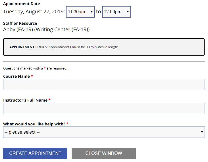 Sample writing center appointment form